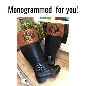 Monogrammed Boots 6.5